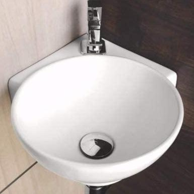 Ceramic Wall Mounted or Wall Hanging Corner Wash Basin Wall Sink Wash Bowl 29 X 29 X 14 Cm