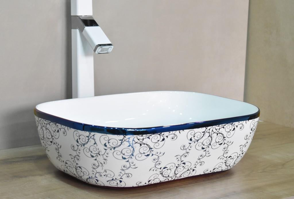 Ceramic Rectangel Shape Above Counter Top Wash Basin Bathroom Porcelain Vessel Sink Bowl For Lavatory / Bathroom 46 x 32 x 14 CM Blue