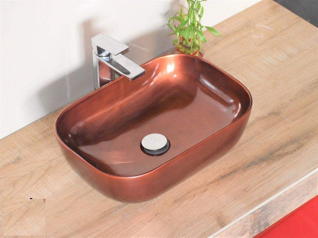 "Ceramic Rectangle Shape Above Counter Ceramic Basin / Bathroom Vanity Bowl / Basin Sink / Vessel Wash Basin Sink 18"" x 13"" x 5.5"" Inch Copper Color"