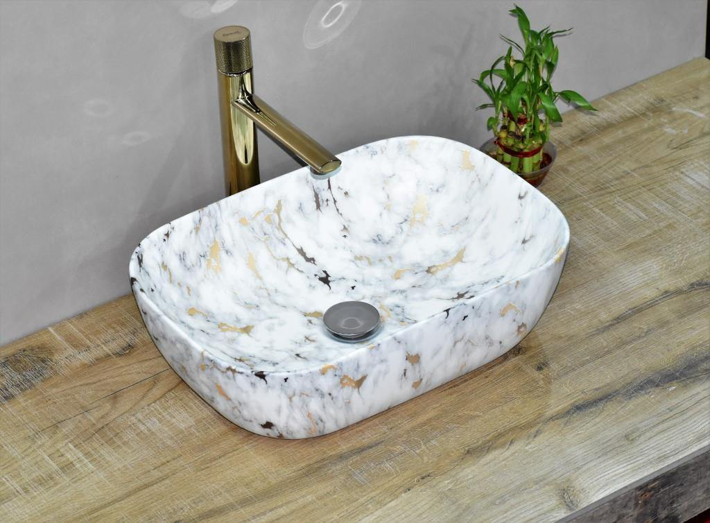 Ceramic Bathroom Vessel Sink Art Wash Basin in Rectangle shape Above Counter in Matt Finish Countertop for Lavatory Vanity Cabinet Contemporary style White Gold Color 46 x 32 x 13.5 CM