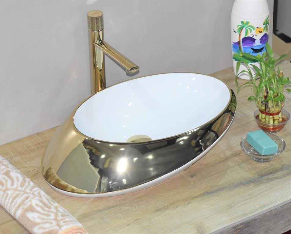 Ceramic Bathroom Vessel Sink Art Wash Basin in Egg shape Above Counter in Glossy Finish Countertop for Lavatory Vanity Cabinet Contemporary style Golden Color 52 x 38 x 14 CM