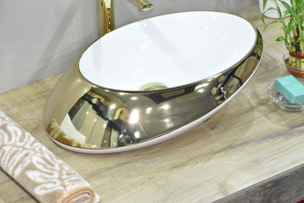 Ceramic Bathroom Sink Above Counter Vessel Sink Bowl Wash Basin Vanity Sink in Oval shape Countertop Golden 41 x 32 x 14.5 CM