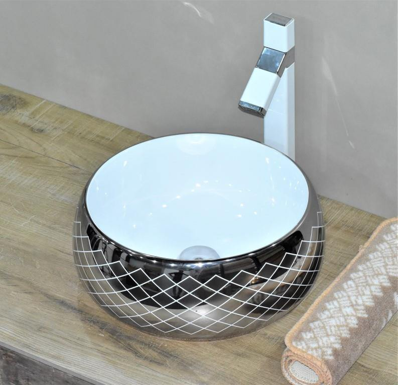 Lavatory Above Counter Ceramic Bathroom Vessel Sink Art Wash Basin Round shape in Glossy Finish Silver Color 40 x 40 x 15 CM