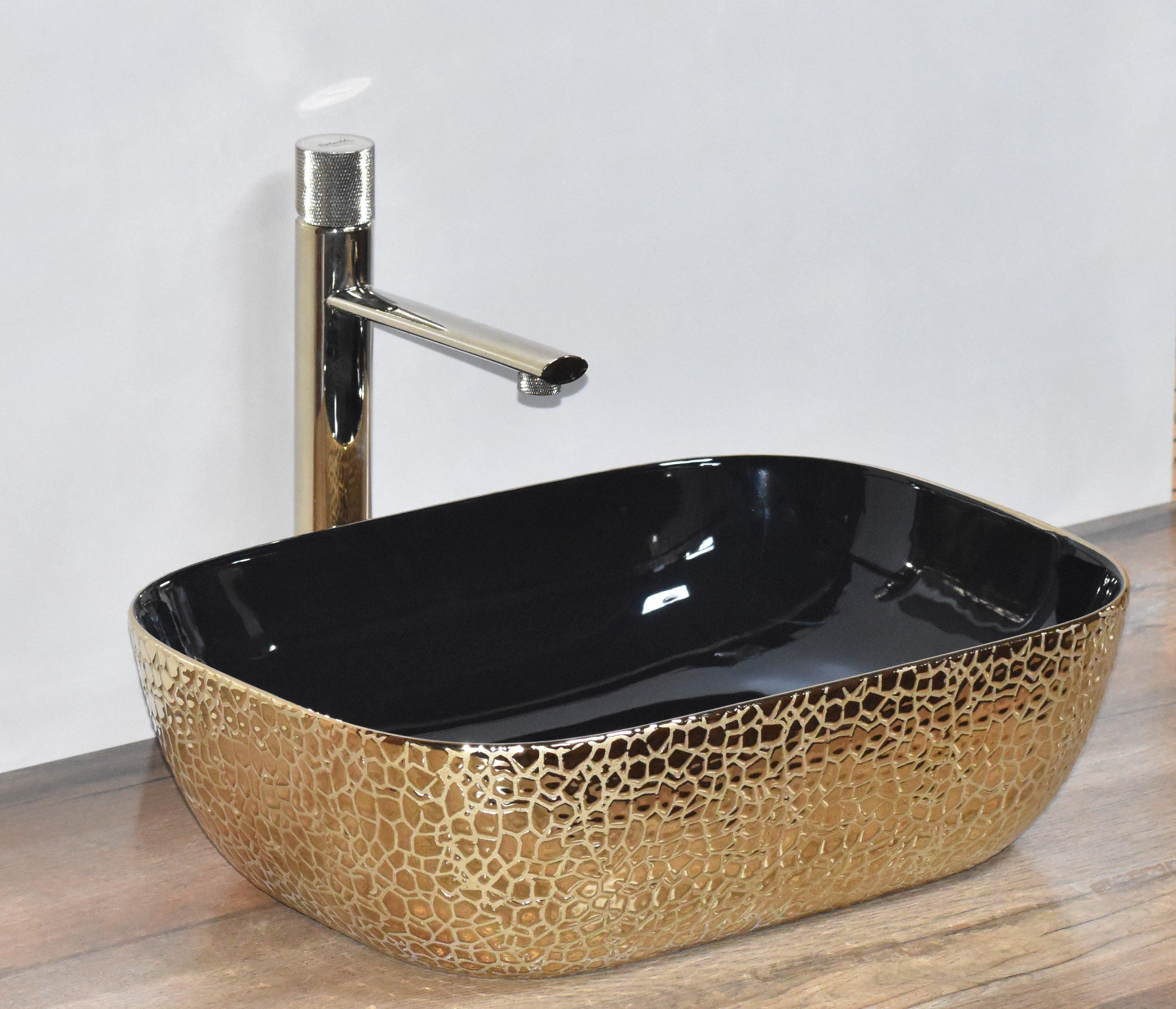Ceramic Bathroom Sink Above Counter Vessel Sink Bowl Wash Basin Vanity Sink in Rectangle shape Countertop Black Gold color 45.5 x 32 x 13.5 CM