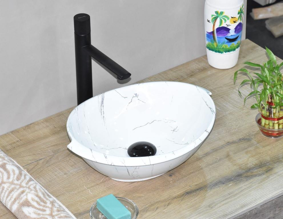 Ceramic Bathroom Vessel Sink Art Wash Basin in Oval shape Above Counter in Glossy Finish Countertop for Lavatory Vanity Cabinet Contemporary style Marble Pattern 41 x 32 x 14.5 CM