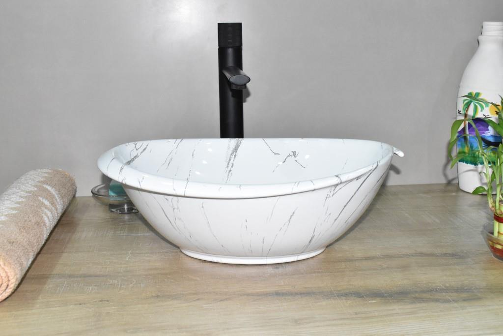 Ceramic Bathroom Sink Above Counter Vessel Sink Bowl Wash Basin Vanity Sink in Oval shape Countertop White Marble 41 x 32 x 14.5 CM