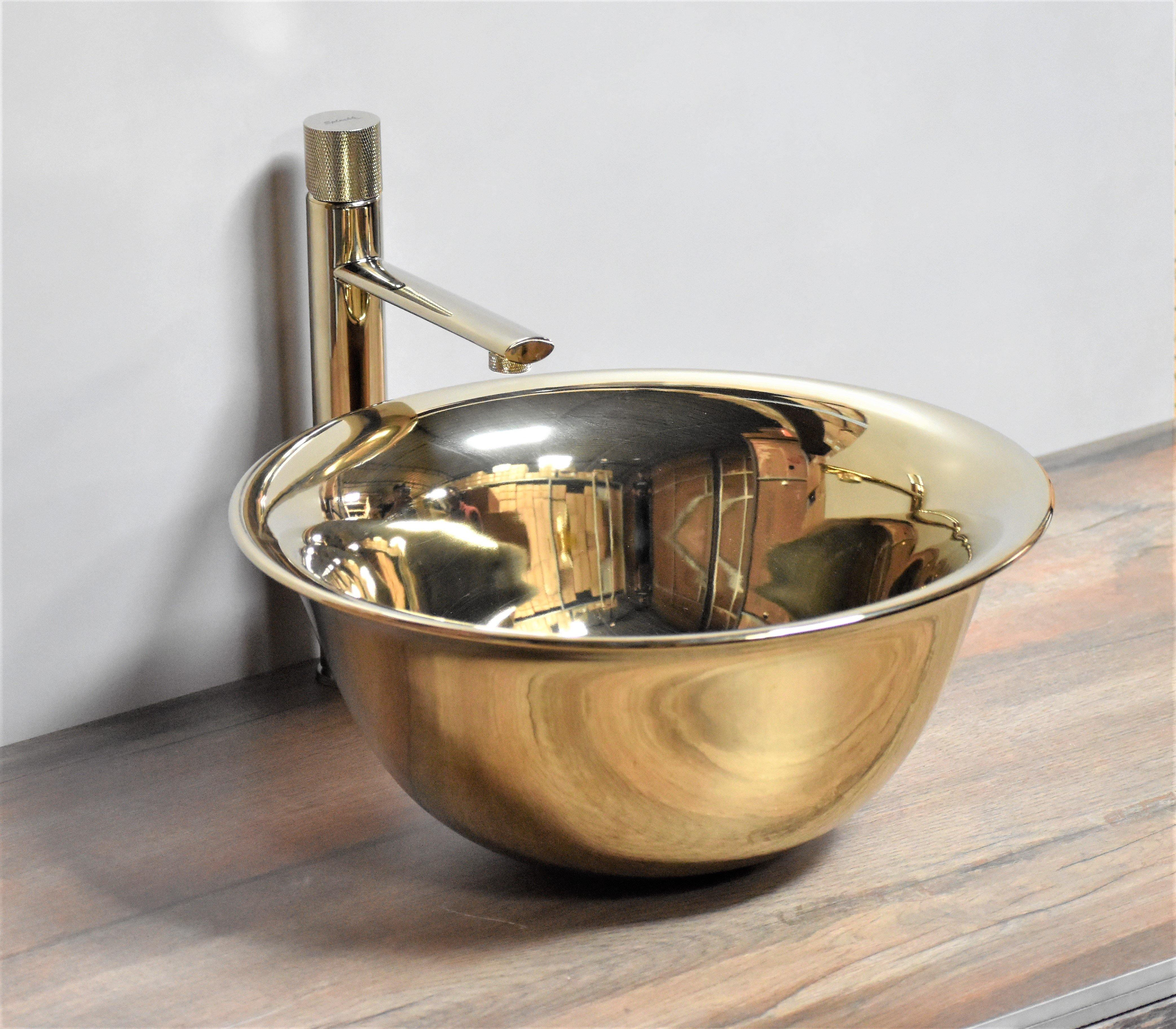 Ceramic Bathroom Sink Above Counter Vessel Sink Bowl Wash Basin Vanity Sink in Round shape Countertop Golden color 40 x 40 x 18.5 CM