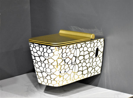 Wall Hung Toilet Bowl Bathroom Square Toilet Bowl Wall Mount Toilet, Golden Color 57 x 36 x 35 CM (Golden Color)
