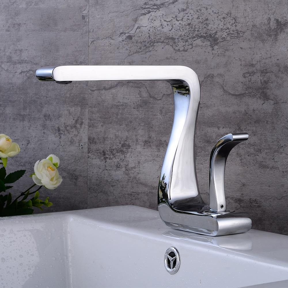 Lavatory Bathroom Sink Faucet In Antique Shape Single Handle One Hole Vessel Sink Faucet Deck Mount Sink Faucet In Chrome Finish
