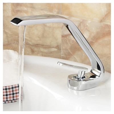 Lavatory Bathroom Sink Faucet In Artistic Shape Single Handle One Hole Vessel Sink Faucet Deck Mount Sink Faucet In Chrome Finish