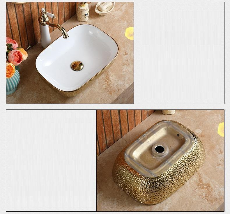Ceramic Bathroom Sink Above Counter Vessel Sink Bowl Wash Basin Vanity Sink in Rectangle shape Countertop White Gold color 45.5 x 32 x 13.5 CM