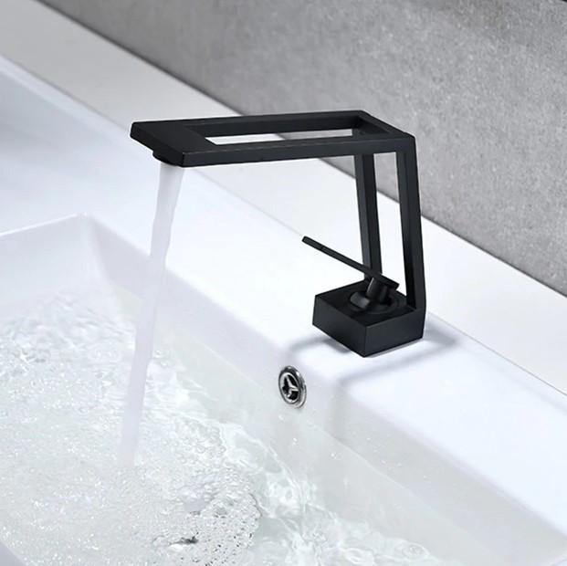 Lavatory Bathroom Sink Faucet In Square Shape Single Handle One Hole Vessel Sink Faucet Deck Mount Sink Faucet In Black Matte Finish