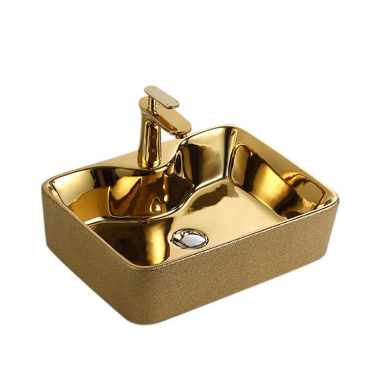 Ceramic Bathroom Sink Above Counter Vessel Sink Bowl Wash Basin Vanity Sink in Rectangle shape Countertop Golden color 49 x 38 x 13 CM