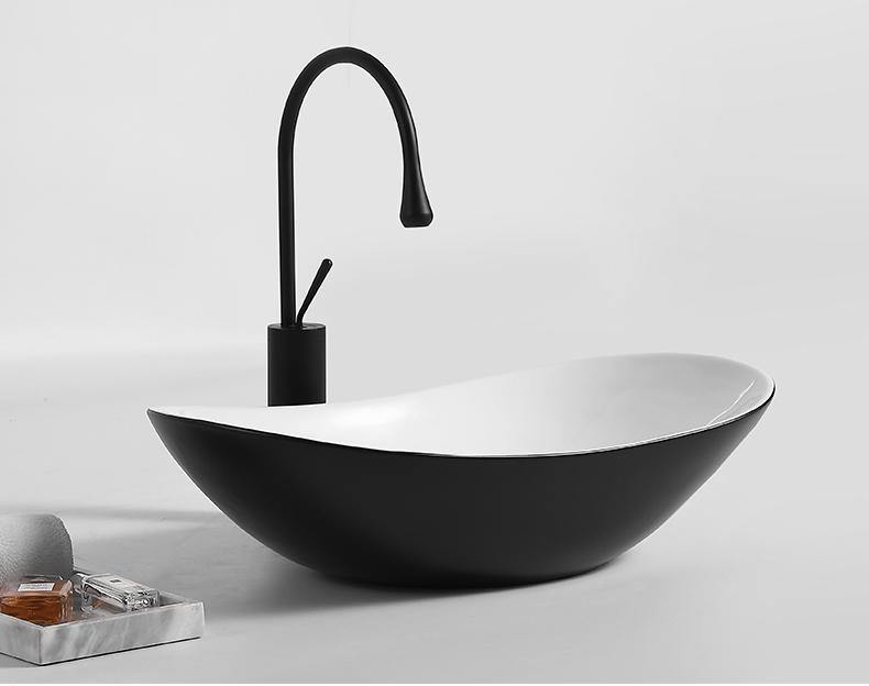 Ceramic Oval Boat Shape Vessel Bathroom Sink In Black Matte Color