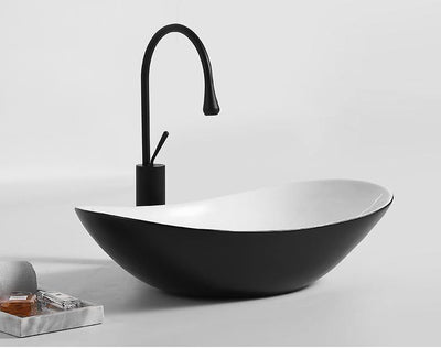 Ceramic Bathroom Sink Above Counter Vessel Sink Bowl Wash Basin Vanity Sink in Oval shape Countertop Black White color 63.5 x 35 x 16 CM