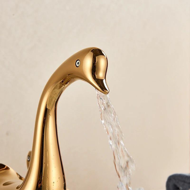 Lavatory Bathroom Sink Faucet In Swan Shape 2 Handle One Hole Vessel Sink Faucet Deck Mount Sink Faucet In Gold Color - Home Store Cart
