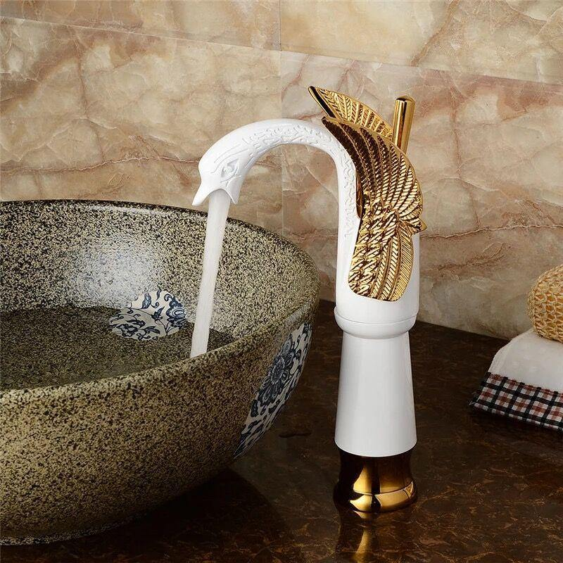 Lavatory High or Tall Body Bathroom Sink Faucet In Swan Shape Single Handle One Hole Vessel Sink Deck Mount Sink Faucet In White Gold Finish - Home Store Cart