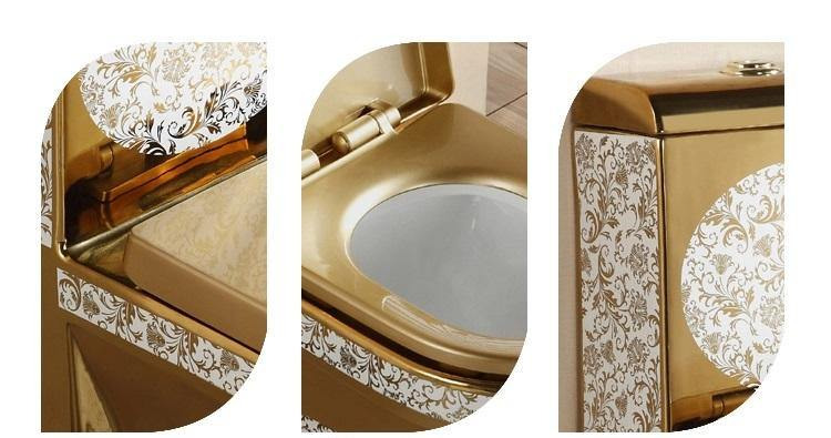 Ceramic One Piece Dual Flush Toilet with Soft Closing Seat Golden Color - Home Store Cart