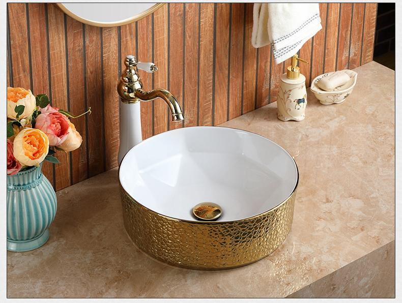 Ceramic Bathroom Sink Above Counter Vessel Sink Bowl Wash Basin Vanity Sink in Round shape Countertop White Gold color 40.5 x 40.5 x 14 CM