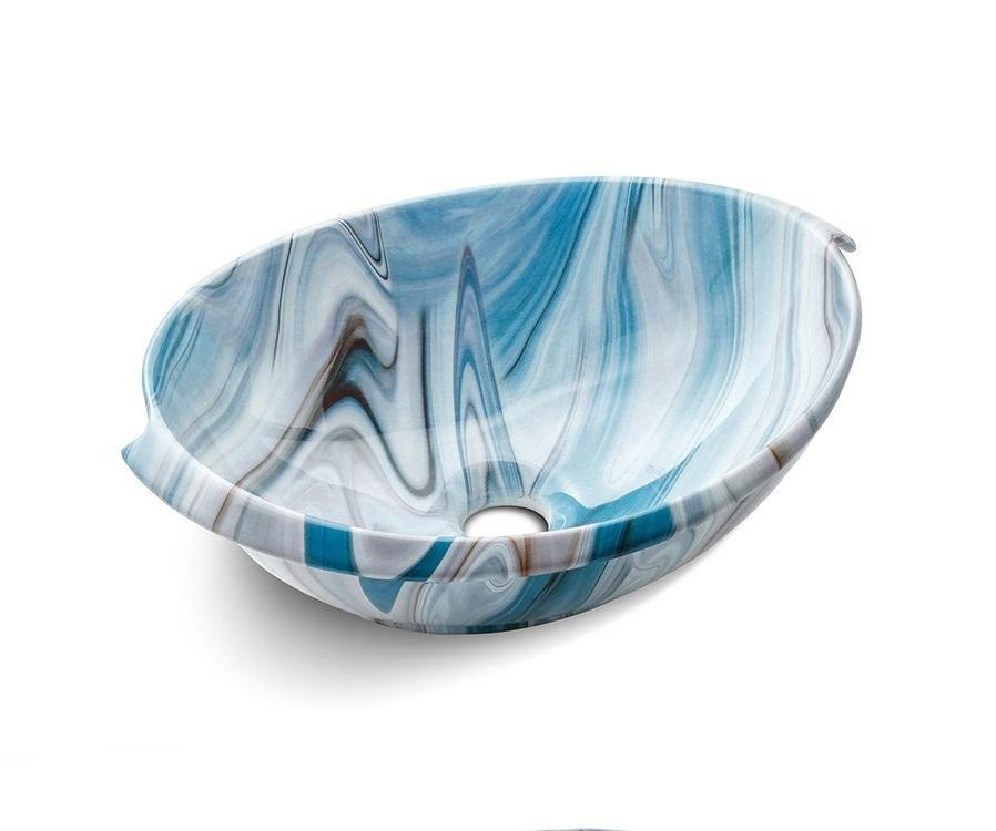Ceramic Bathroom Sink Above Counter Vessel Sink Bowl Wash Basin Vanity Sink in Oval shape Countertop Blue Color Marble Pattern 41 x 32 x 14.5 CM - Home Store Cart