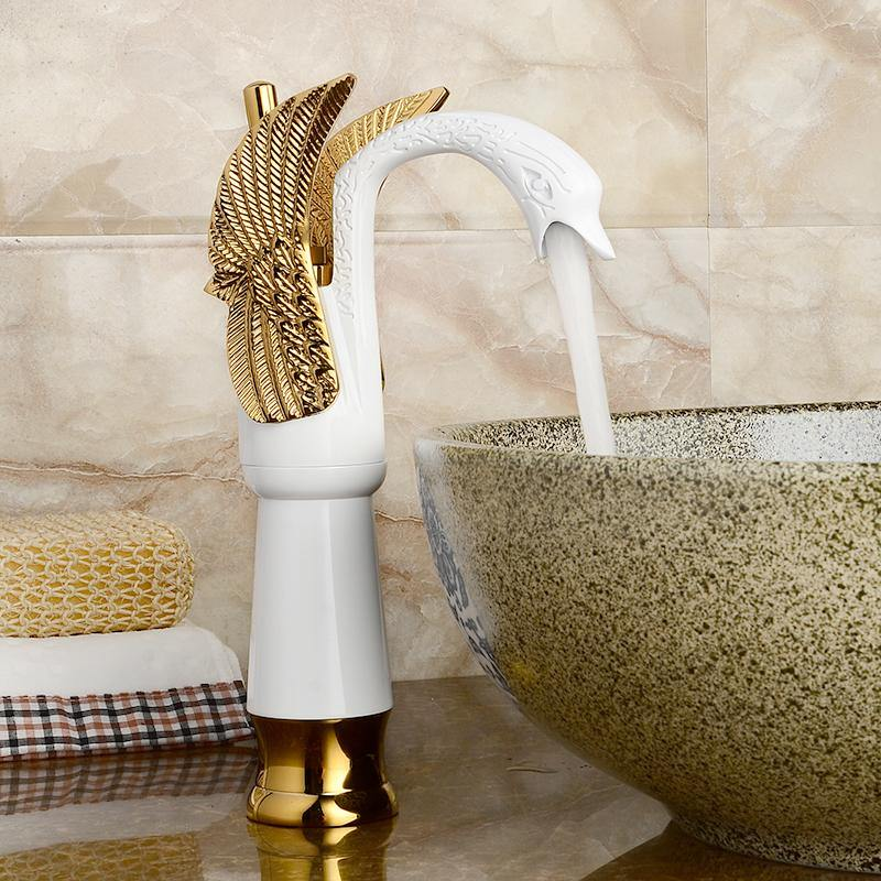 Lavatory Single-Handle Bathroom Sink High or Tall Body Faucet Swan Shape Single Lever Handle One Hole Bathroom Vessel Sink Faucet Deck Mount Lavatory Sink Faucet In Gold White Color