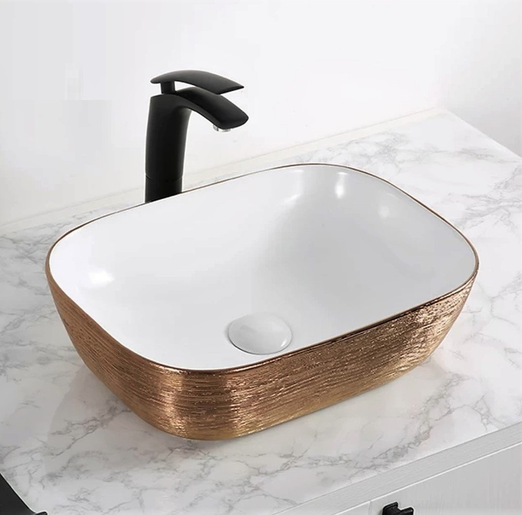 Ceramic Above Counter Porcelain Vessel Sink Counter Top Vessel Vanity Sink Basin Wash Bowl 46 X 32 X 14 Cm