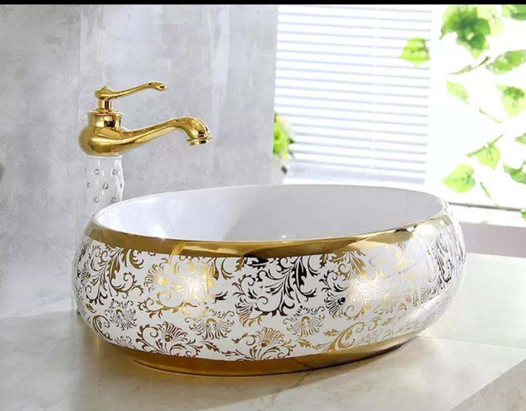 Ceramic Bathroom Sink Above Counter Vessel Sink Bowl Wash Basin Vanity Sink in oval shape Countertop white gold color 60 X 40 X 15 Cm