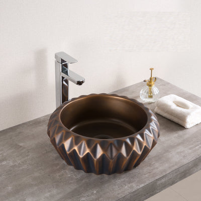 Ceramic Above Counter Porcelain Vessel Sink Counter Top Vessel Vanity Sink Basin Wash Bowl 42 X 42 X 16 Cm