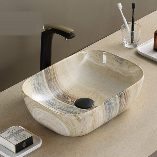 Ceramic Bathroom Sink Above Counter Vessel Sink Bowl Wash Basin Vanity Sink in Rectangle shape Countertop Beige 46 x 33 x 13 CM