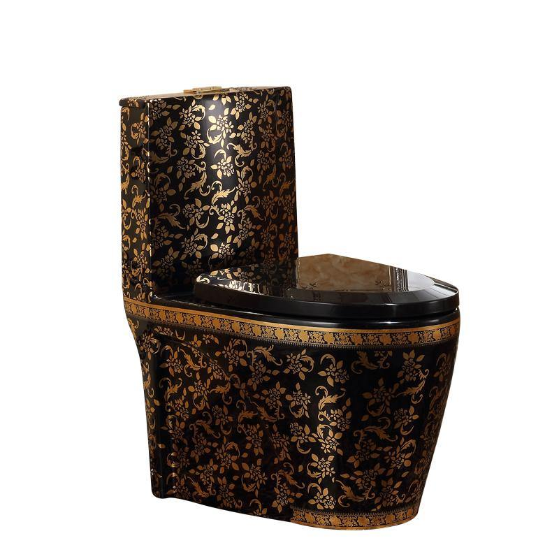 Ceramic One Piece Dual Flush Toilet with Soft Closing Seat Black Gold Color