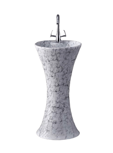 Ceramic Pedestal Free Sanding Wash Basin Sink 41 Cm Round For Bathroom & cloakrooms - InArt Store