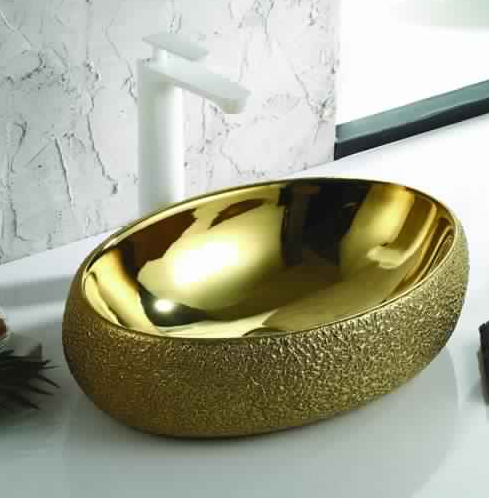 Ceramic Bathroom Sink Above Counter Vessel Sink Bowl Wash Basin Vanity Sink in Round shape Countertop gold color 60 X 40 X 15 Cm