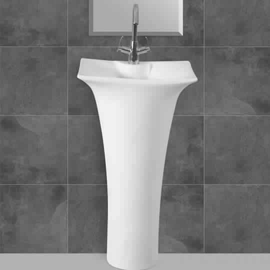 Ceramic Pedestal Free Sanding Wash Basin Sink Round For Bathroom & cloakrooms - InArt Store