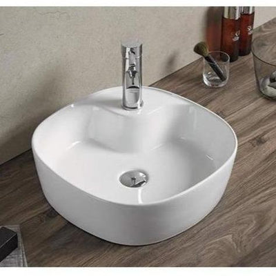 Square Above Ceramic Rectangular Vessel Bathroom Sink  With Tap Hole 44 X 44 X 14 Cm