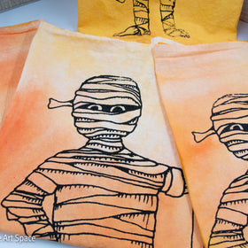 Halloween Happy Mummy - Full Sized Mummy - Flour Sack Tea Towel