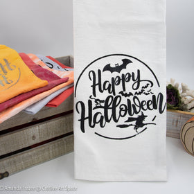 Cre8ive Art Space's Fun Happy Halloween Moon Flour Sack Tea Towels have a festive Halloween graphic for your kitchen or Bathroom.  They make the perfect accessory & at an affordable price!  They make a great gift as well.