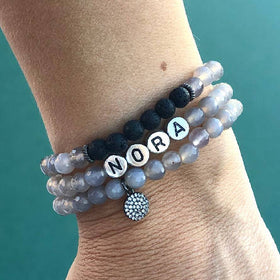 """Ground Me"" Gray Agate Name Trio Bracelet"