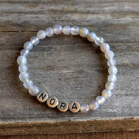 """GROUND ME"" Gray Agate Name Bracelet"