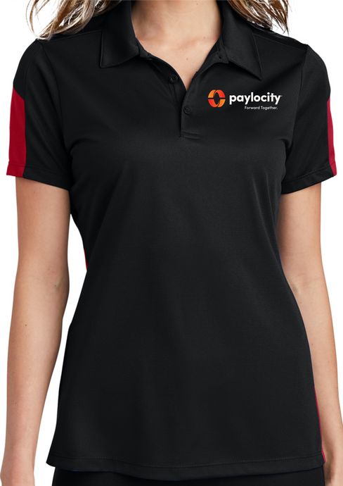 LST695 Sport-Tek® Ladies PosiCharge® Active Textured Colorblock Polo