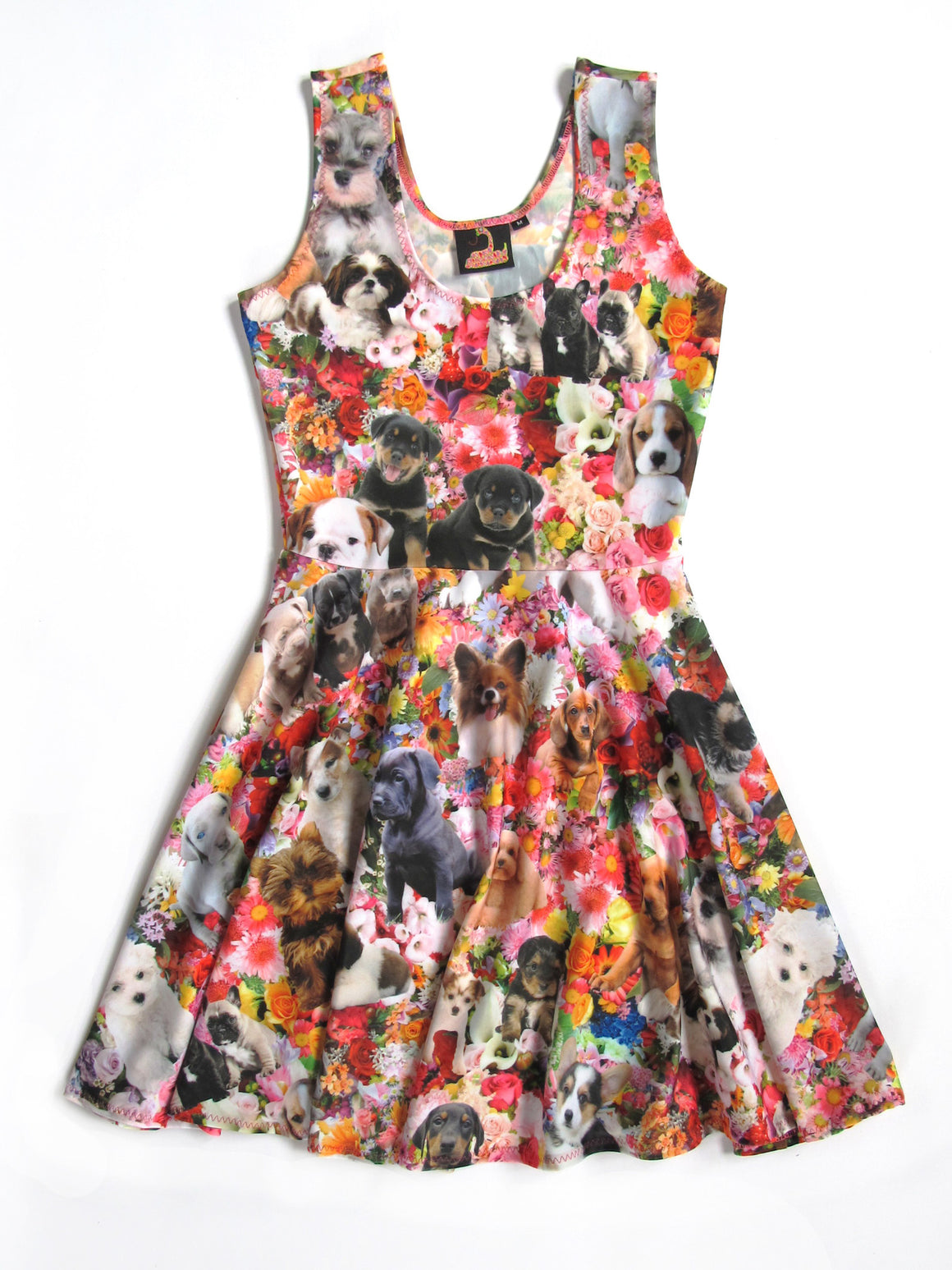 Puppy Garden Party Fit and Flare Dress