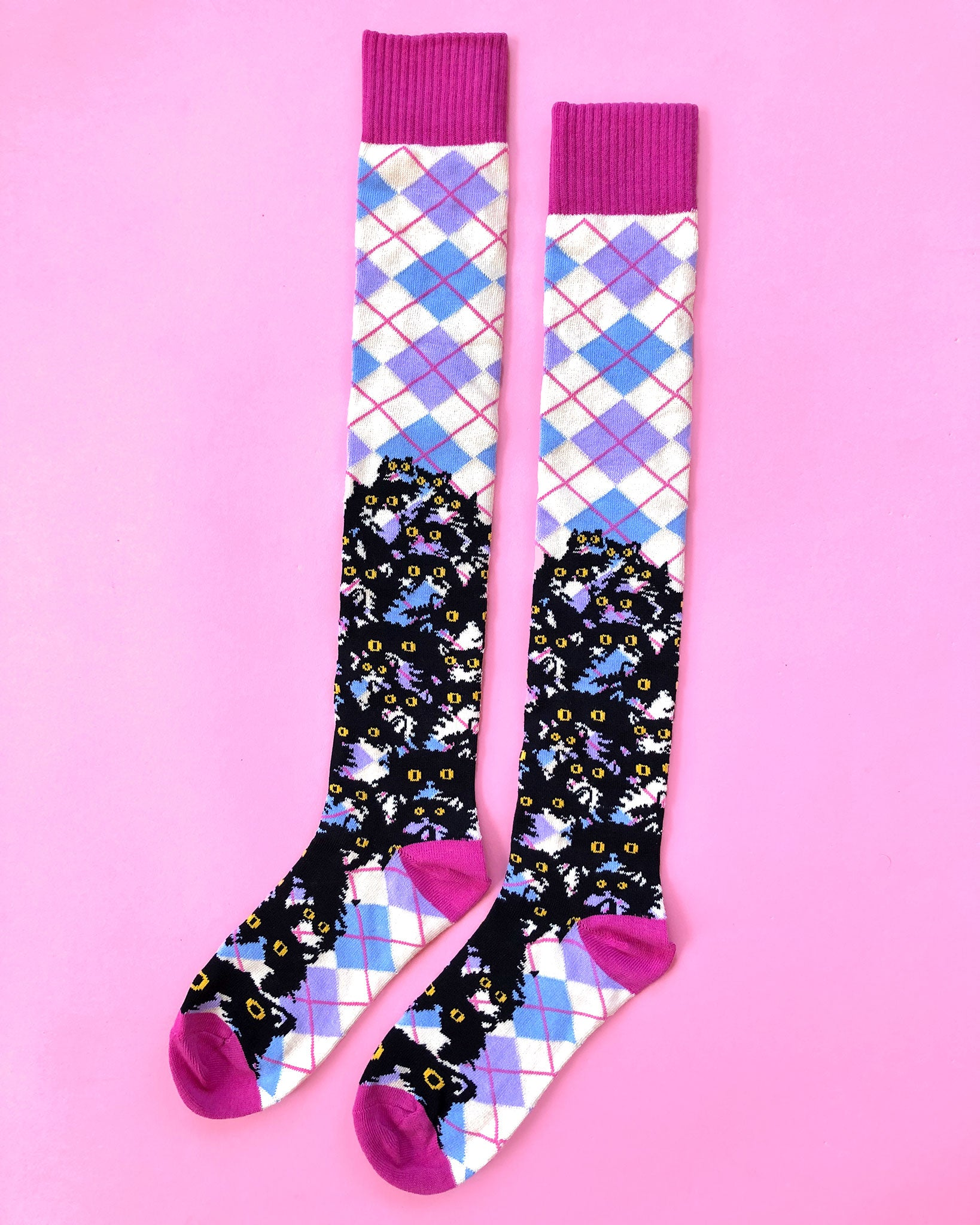 Argyle Kitty Knee Socks