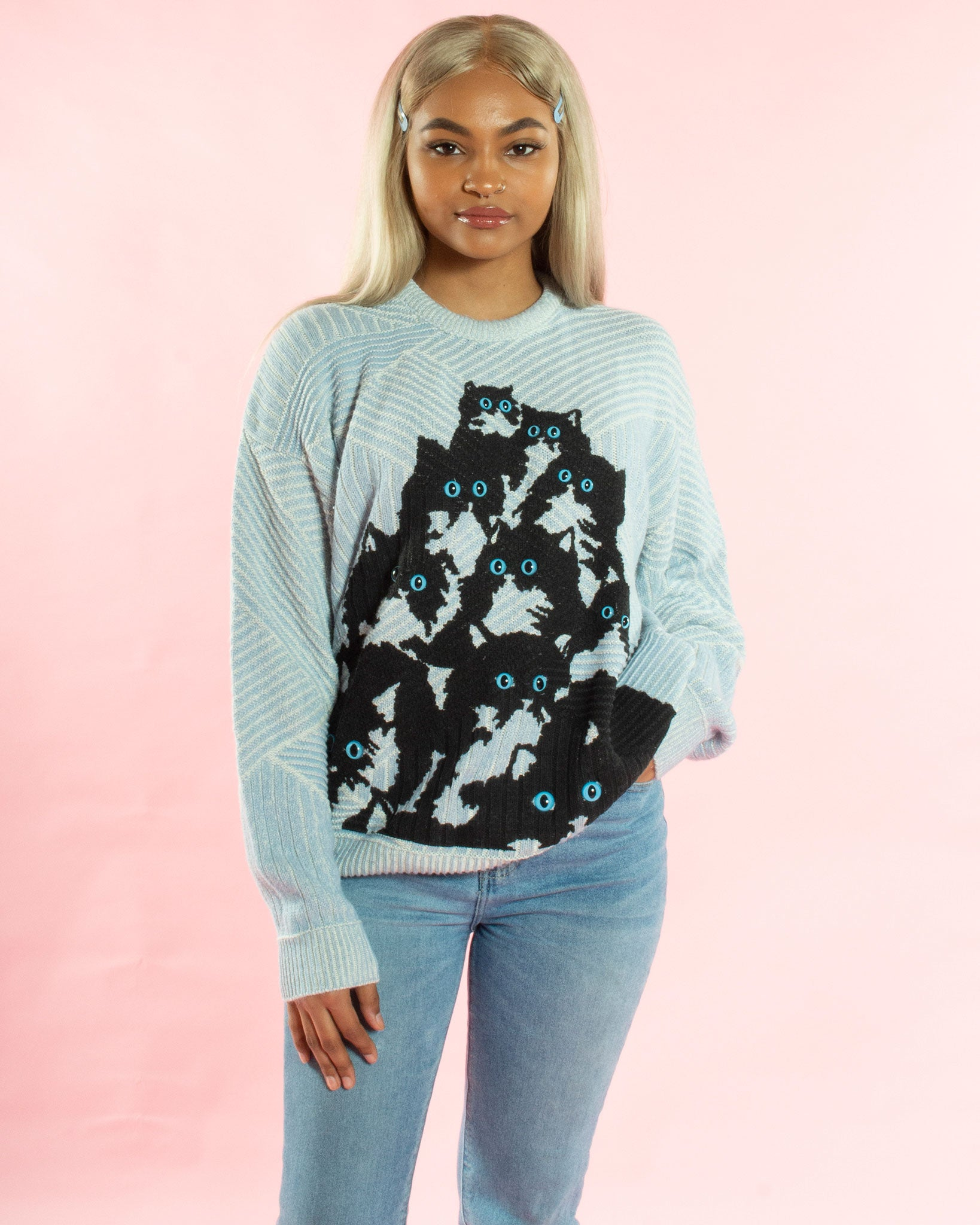 d6fa0c0d63ab54 Blue and White Kitty Sweater