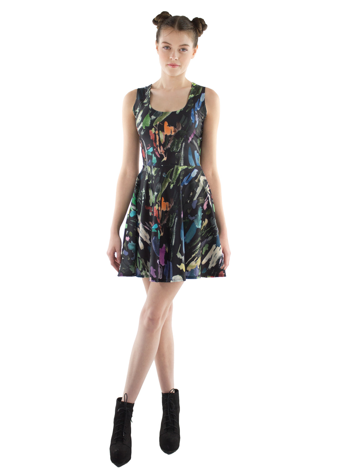 Brush Stroke Fit and Flare Dress