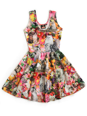 Kitty Garden Party Print Fit and Flare Dress