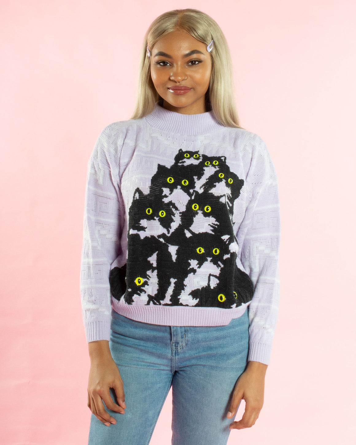 Lavender Kitty Sweater