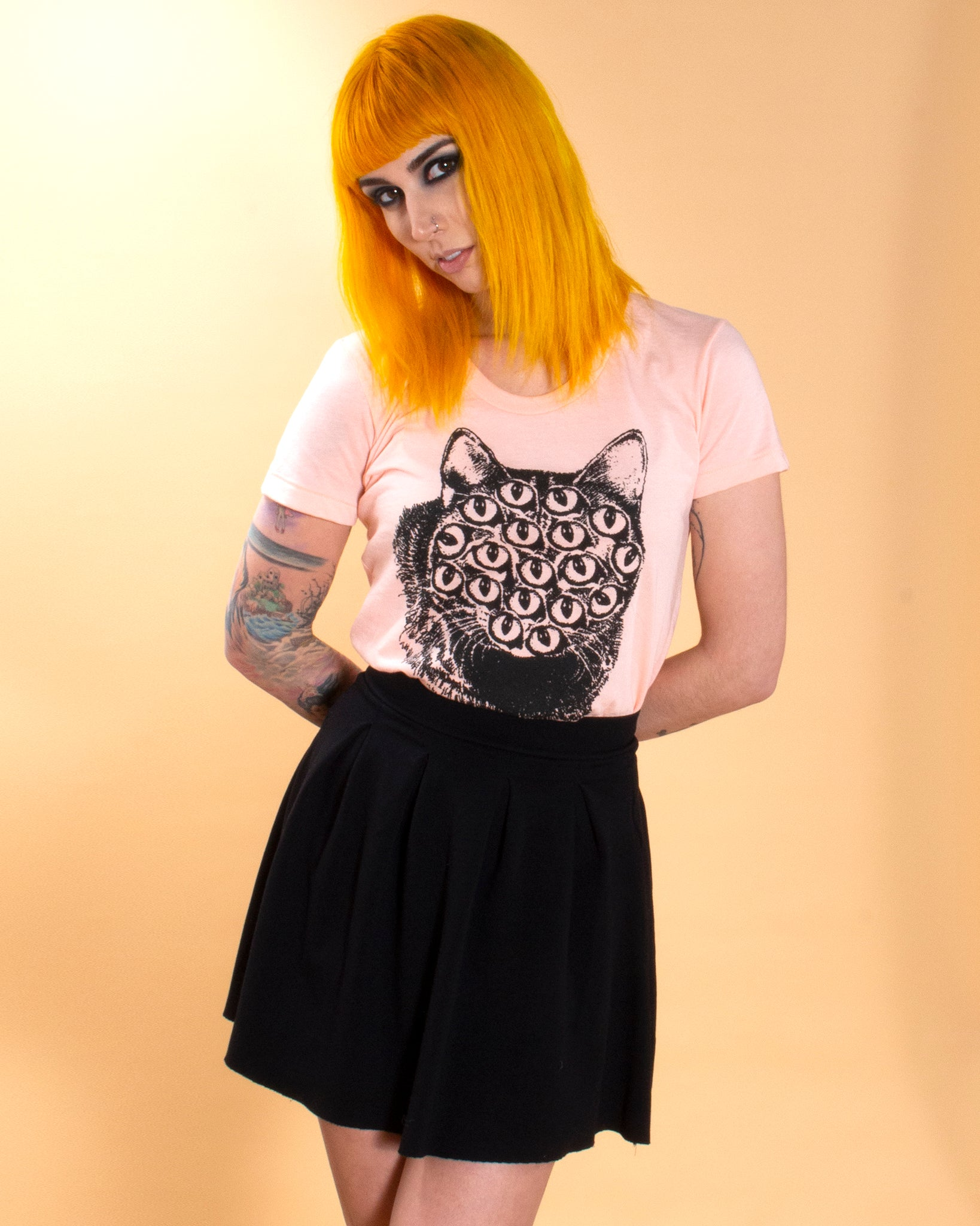 Mutant Kitty Tee in Peach