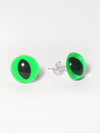 Neon Green Eye Earrings
