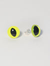 Neon Yellow Eye Earrings