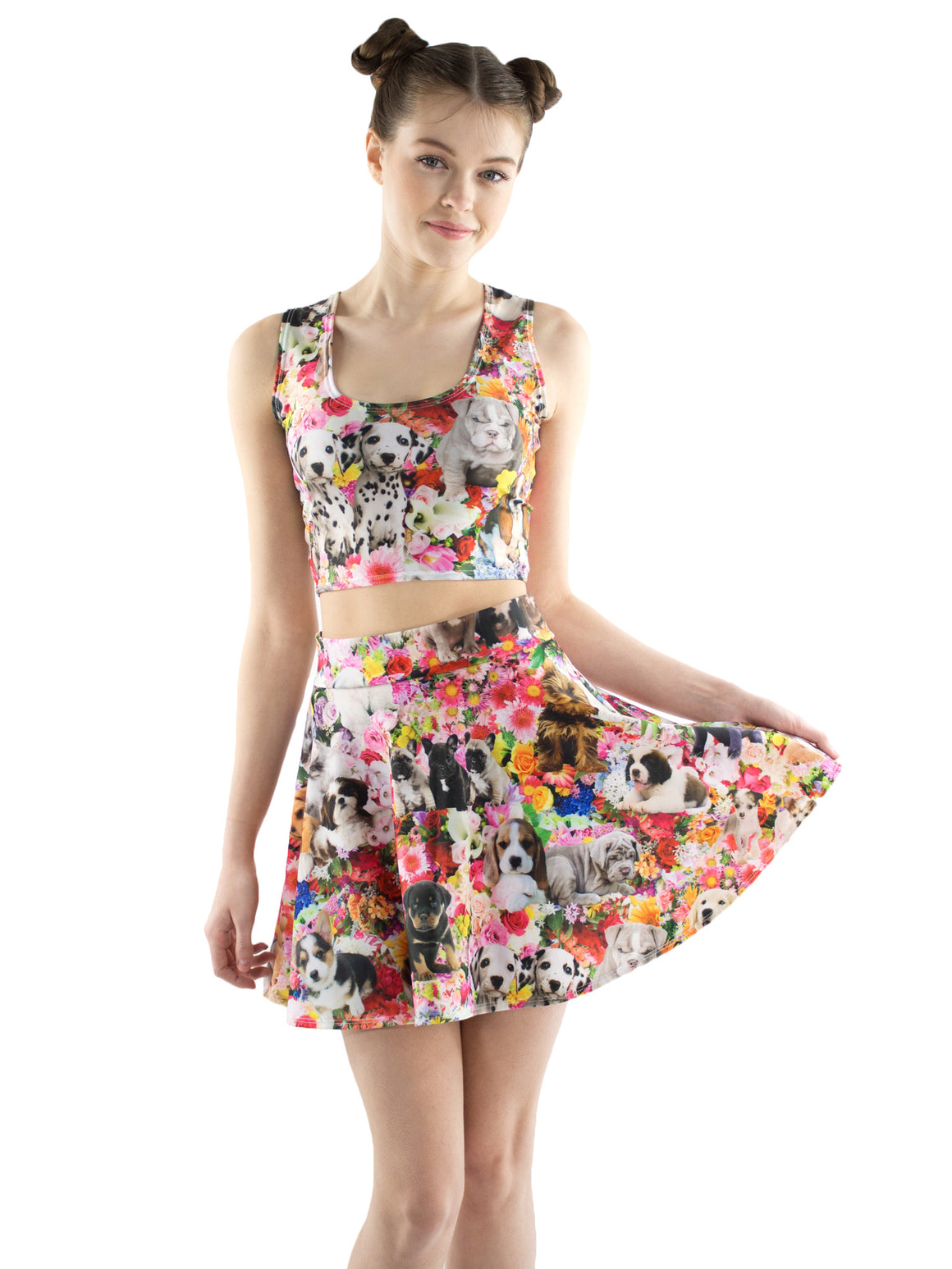 Puppy Garden Party Skater Skirt