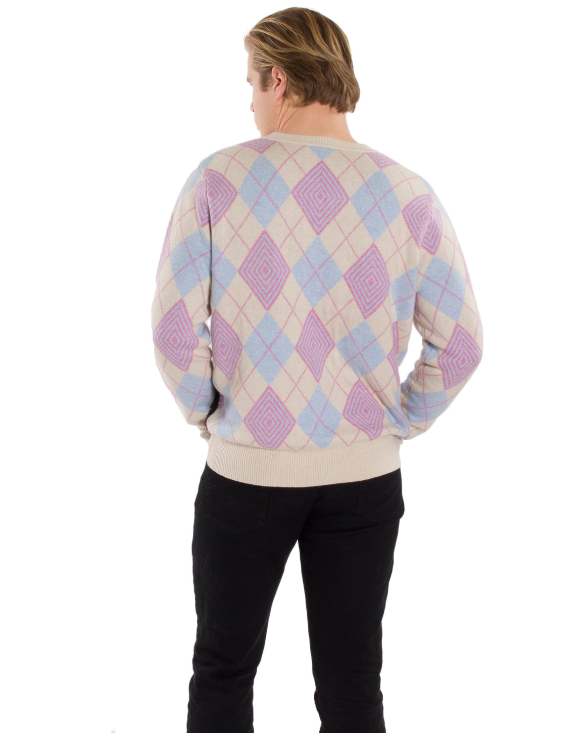 Optical Argyle Kitty Sweater in Sand